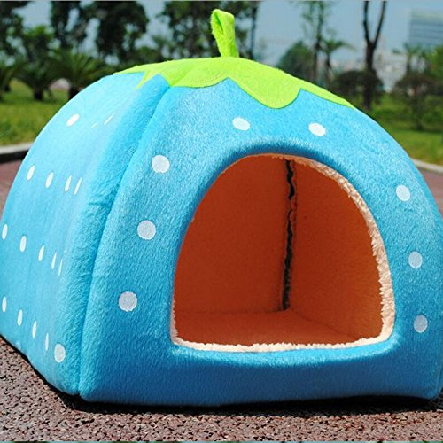 Super New Soft Strawberry Pet Dog Cat Bed House Kennel Doggy Warm Cushion Basket-Blue front-913731