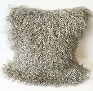 Grey Wool Throw Pillow : Amazon.com: Beautifur Mongolian Tibetan Lamb Fur Wool Square Throw Pillow Cushion Light Grey 16 ...