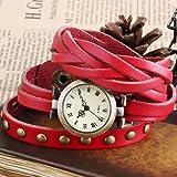 Ailisha Lady Women Fashion Wrap Around Bracelet Red Long Leather Quartz Watch