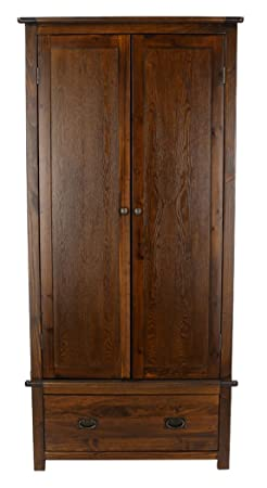 Core Products Two Door and Single Drawer Wardrobe, Rich Dark Brown
