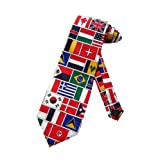 World FLAGS Neckties TIES Mens Necktie (Color: White, Tamaño: One Size)