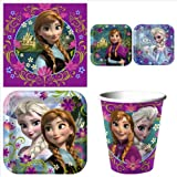 Disneys Frozen Birthday Party Supplies Value Pack: Dinner & Dessert Plates, Cups & Napkins - Up to 8 Guests