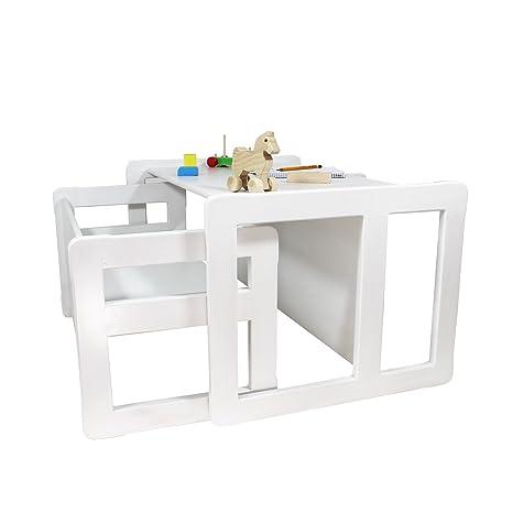 3 en 1 muebles para niños, juego de 2, un pequeño banco mesa y un banco mesa grande hecho de madera de haya blanca manchada