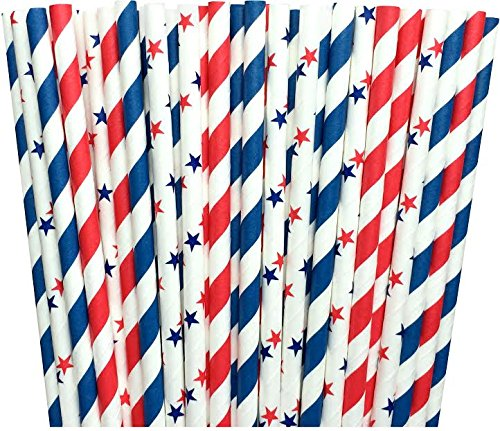 Red White and Blue Stars and Striped Paper Straws -Birthday Party Supply Patriotic 4th of July Picnic Supply 100%Biodegradable 7.75 Inches Pack of 100