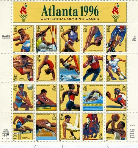 Summer Olympics Games 1996 Atlanta Collectible Sheet of Twenty 32 Cent Stamps - 1