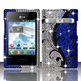 TRENDE - LG Optimus Dynamic L38G / LG Optimus Logic L35G Phone Case Blue Vines Diamond (Bling) Design Cover + Free Gift Box (Compatible Models: L38G, L35G, L38C)