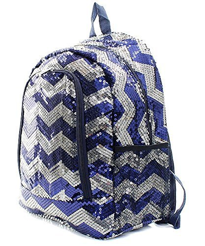 Children's Chevron Sequin Bling School Backpack (Navy)