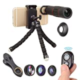 Monocular Telescope for Smartphone 6 in 1 Kit- Spyglass 18 x 25 Zoom, Tripod, 4 Camera Lens Attachments, Remote Shutter, Spotting Scope for Travel, Hunting, Shooting, Bird Watching