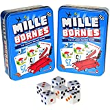Mille Bornes Card Game in Tin _Bundle of 2 Identical Games _with 6 Bonus white (D6) Dice
