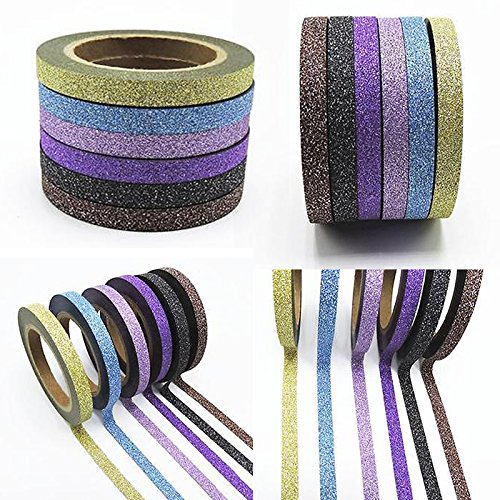 test 6x glitzer washi tape klebeband aufkleber briefpapier scrapbooking maskierung dekorative 6. Black Bedroom Furniture Sets. Home Design Ideas