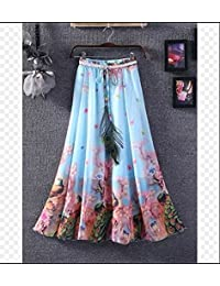 HOORIYAS New Stock Blue Pink Colour Faux Georgette Womens Skirt