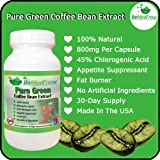 Pure Green Coffee Bean Extract 800mg Premium Ultimate Fat Burner Capsules For Men & Women (60 Capsules, or 30-Day Supply) - 45% Chlorogenic Acid Helps You Lose Weight Naturally Fast - 100% Pure, Zero Additives, Zero GMOs And Zero Artificial Ingredients, Made in North America
