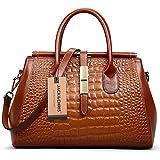 Jack&Chris® Women Genuine Leather Crocodile Grain Shoulder Bag Top-handle Tote, WBDZ024 (Brown)