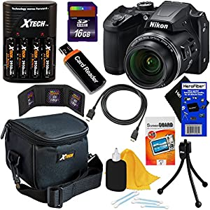 Nikon COOLPIX B500 16MP Wi-Fi, NFC Digital Camera w/40x Zoom & HD Video (Black) - International Version (No Warranty) + 4 AA Batteries with Charger + 9pc 16GB Accessory Kit w/ HeroFiber Cleaning Cloth