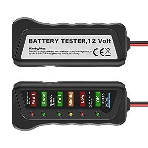 AUTDER Car Battery Tester 12V 6 LED Lights Digital Alternator Tester,Test Battery Condition & Alternator Charging Tester for Car Motorcycle (Color: Red)