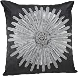 Shahenaz Home Shop Amodini Floral Patch Poly Dupion Cushion Cover - Black and Grey