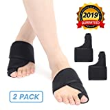 OUTERDO Bunion Corrector, Foot Bunion Splint Elastic and Adjustable Toe Support Comfortable Fit for Unisex, Big Toe Corrector Straightener Pain Relief for Bunion Overlap Crooked Toes (1 Pair) (Color: Black, Tamaño: One Size Fits Most)