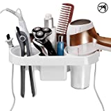 COAWG Adhesive Hair Dryer Holder, Wall Mounted No Drilling Plastic Bathroom Blow Drier Storage with Plug Hook, Hair Care Tools Organizer Basket with Cups for Curling Flat Straight Hot Iron (Color: White, Tamaño: A-White)