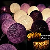 Nexium Handmade Purple Cotton Ball String Light Decor Home Living Room , Patio Wedding , Christmas , Party , Yard Garden Decorative Lamp Display