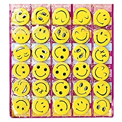 Smiley Face Expressions Button Pins Badge - Set of 30 - Birthday, Office and Theme Party Supplies.