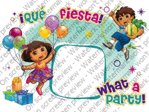 1/4 Sheet ~ Dora What a Party! Photo Frame ~ Edible Image Cake/Cupcake Topper!!!