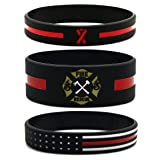 Inkstone 6-Pack Firefighters' Thin Red Line Silicone Wristbands - Jewelry Gifts Accessories for Fire Fighters (Color: Black, Red)