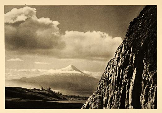 1935 Osorno Calbuco Volcano Chile Mountain Photogravure - Original