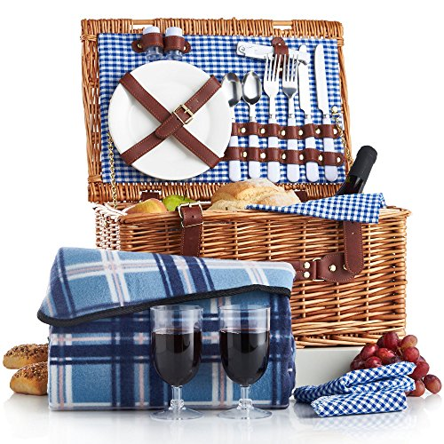 VonShef Deluxe 2 Person Traditional Wicker Picnic Basket Hamper with Cutlery, Plates, Glasses, Tableware & Fleece Blanket 0