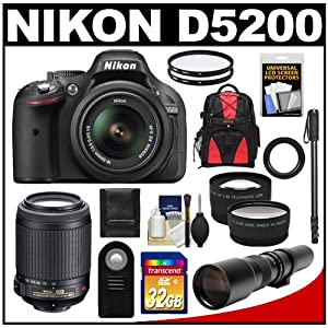 Nikon D5200 Digital SLR Camera & 18-55mm G VR DX AF-S Zoom Lens (Black) with 55-200mm VR + 500mm Telephoto Lens + 32GB Card + Backpack + Tele/Wide Lenses + Monopod + Accessory Kit