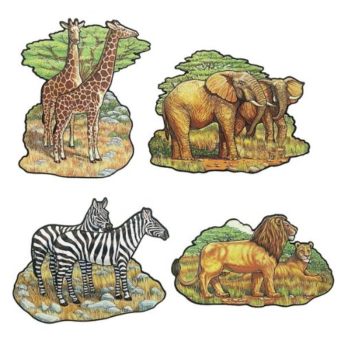 Beistle 55553 4-Pack Zoo Animal Cutouts, 16-Inch - 1