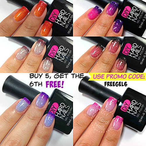 Gel Nail Polish - DIY Hard Nails - Shellac Nail Polish - Glamorous Color Changing, Glitters, and Shimmering Gel Nail Polish Colors - Use with your CND, OPI, IBD, Gelish Gel Nail Polish Set - FREE Shipping with 3 or More Polishes - BONUS: FREE Gel Nail Sa