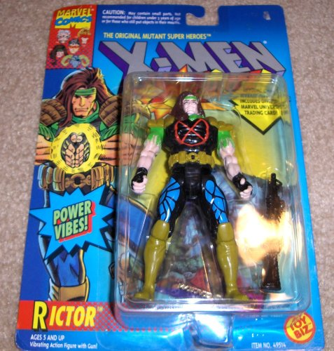 Rictor Action Figure - 1994 - X-Men / X-Force Series - Power Vibes & Gun - Trading Card - Toy Biz - Marvel - Limited Edition - Collectible - 1