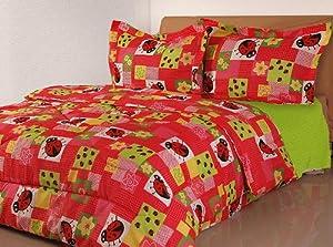 Ladybugs Flowers Twin Comforter Bed Set