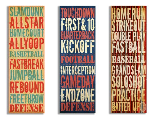 The Kids Room by Stupell Football, Baseball, Basketball Sports Typograpy 3-Pc. Rectangle Wall Plaque Set