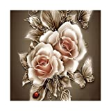 VKTECH Retro Rose Flower 5D Diamond Painting Embroidery DIY Paint-by-Diamond Kit Home Wall Decor 14 x 14 inch (Color: Retro Rose Flower, Tamaño: 35*35cm)