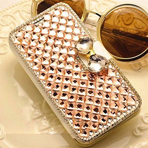 Champagne Luxury 3D Fashion Bling Diamond Bow PU Flip Wallet Leather Case Cover For Smart Mobile Phones (Samsung Galaxy Grand 2 G7102 G7106) (Mobile Covers For Grand 2 compare prices)