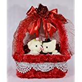 Beautiful Red Imported Rose Basket With Love Couple Teddy Bears