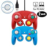 Mekela 2 Packs 5.8 feet Classic USB Wired NGC Controller Gamepad resembles Gamecube for Windows PC MAC (USB Red and Blue) (Color: Red and Blue)