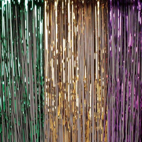 One Hanging Mardi Gras Themed Metallic Tinsel Curtain