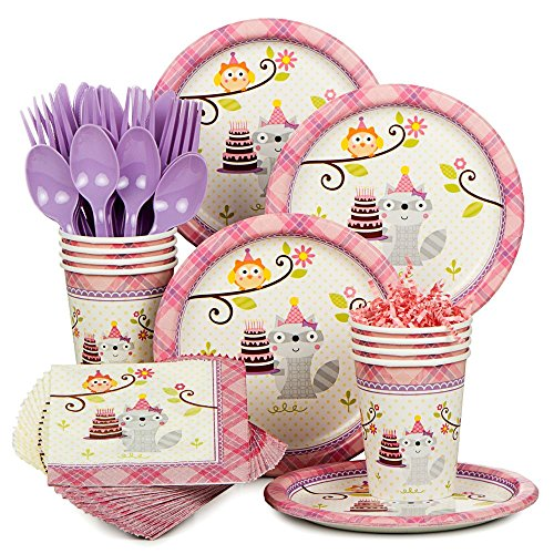 Happy Woodland Girl Birthday Party Supplies Standard Tableware Kit Serves 8