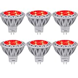 Red MR16 LED Light Bulbs with GU5.3 Base 50W Equivalent Halogen Replacement 5W 12V Bi-pin Spotlight 38 Deg Landscape Pool Step Lighting-6 Packs (Color: Red, Tamaño: MR16 Standard Size)