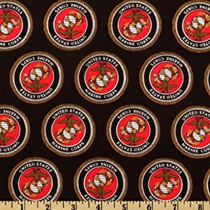 44'' Wide U. S. Military Marines Allover Emblems Black Fabric By The Yard