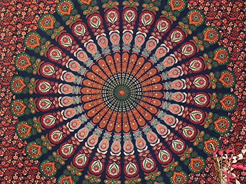 Mandala paon style tapisserie murale bleu orange plaid for Decoration murale mandala