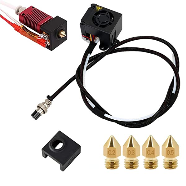 CREALITY CR-10S 3D Printers Original Replacement Parts/Accessories Full Assemble MK8 Extruder Hot End Kits (with Nozzle 0.4mm /0.2mm /0.3mm /0.5mm) fit 3D Printing Printer CR-10 CR-10S CR10S5 (Color: BLACK, Tamaño: MK8 hot end)