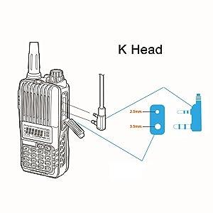 Radio Mic Earpiece Headset,2 Pin PTT Covert Acoustic Tube Earpiece for Two Way Radio Kenwood Baofeng UV-5R/888S/UV-82/UV-82HP/UV-5R V2+/BF-F8HP,2 Pack By Tunteil