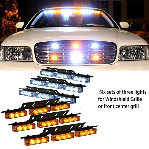 54 Led Emergency Vehicle Strobe Lights Bars Warning Deck Dash Grille Amber/White