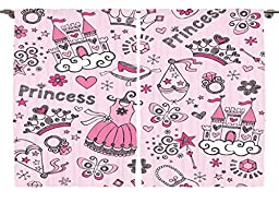 Ambesonne Girls Kids Room Decor Collection, Sweet Princess Shoes Icons Fairy Castle Butterfly Heart Wand Diamond Crown Art, Window Treatments for Kids Bedroom Curtain 2 Panels Set, 108X84 Inches