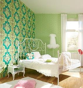 erismann papier tapete my life jill 7308 07 gr n t rkis gold. Black Bedroom Furniture Sets. Home Design Ideas