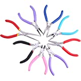 Kattool 8PCs Mini Pliers Set, Long Nose with Teeth, Flat Jaw, Round Curve Needle Diagonal Nose Wire End Cutting Cutter Linesman Plier with Colorful Grips (Tamaño: 8Pcs Mini Pliers Set)