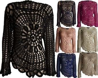 Womens Ladies Designer Big Flower Crochet Knitted Off Side Jumper Top 8 10 12 14 (S/M (10-12), DUSTY PINK)